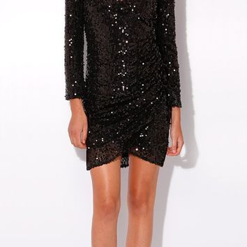 Black Long Sleeve Wrap Sequin Dress