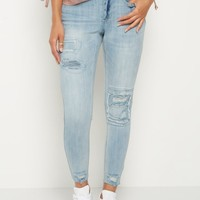 Light Blue Destroyed & Patched Jegging in Curvy | Jeggings | rue21