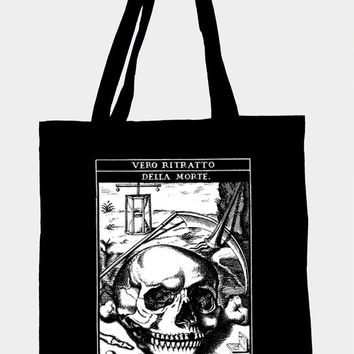 Tote bag with medieval illustration RITRATTO,organic cotton and ecological screen printing,gothic,medieval,latin text,black,occultism,dark