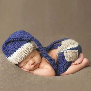 0-4M Baby Photo Props Newborn Baby Girls Boys Crochet Knit Costume Photo Photography Prop Pants with Hat