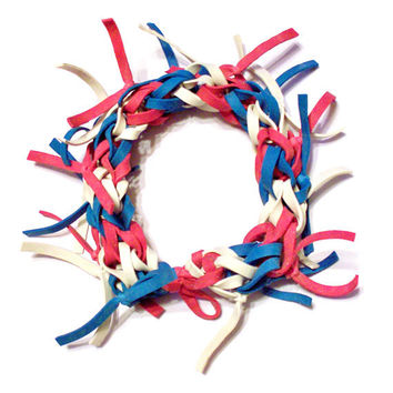 4th of July Bracelet - Red, White, and Blue Bracelet Made with Stretchy Rubber Bands, Frayed Style, Patriotic Fireworks