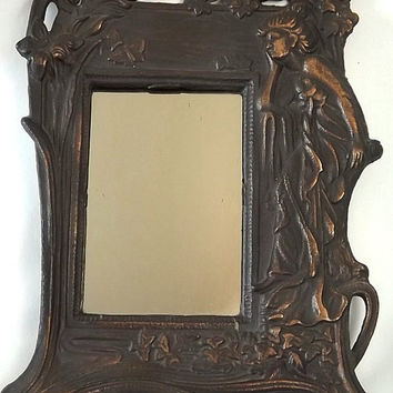 Vintage Art Nouveau Cast Iron Framed Mirror, Victorian Cottage Chic Home Decor