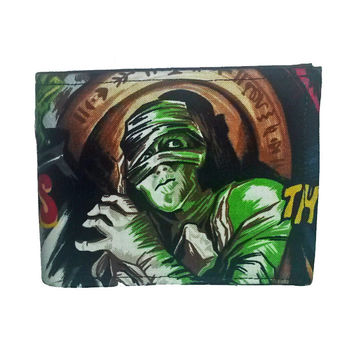 Mens Monster Print Bi Fold Wallet
