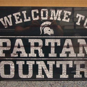 "MICHIGAN STATE SPARTANS WELCOME TO SPARTANS COUNTRY WOOD SIGN 13""X24'' WINCRAFT"