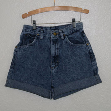 70s 80s 90s bleached acid washed wrangler high waist shorts grunge hipster festival denim jean cuffed 25 26 xs s
