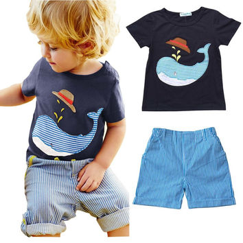 Boys whale Shirt and Shorts Set