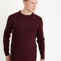 The Idle Man Cable Knit Jumper Purple - Clothing - New In | The Idle Man