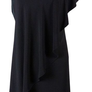 Betsy & Adam Women's Rhinestone Draped Shoulder Jersey Dress