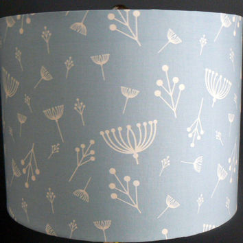 "Blue and White Drum Shade, ""Twigs"" Organic Cotton"