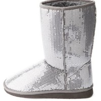 Sequin Mid-Calf Shearling Boots by Charlotte Russe - Pewter