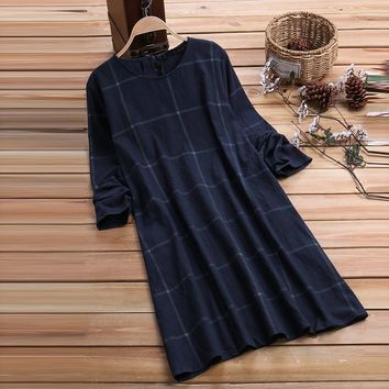 Feitong Vintage Dresses Women O-Neck Casual Loose Plaid Long Sleeve Shirt Fashion Straight Casual Dress Vestidos Plus Size
