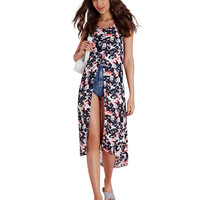 Spaghetti Strap Floral Chiffon Dress With Front Slit