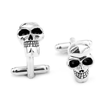 New Arrival Skeleton Human Skull Cufflinks Tuxedo Studs Male French Shirt Cuff Links For Men's Jewelry Gift Free Shipping