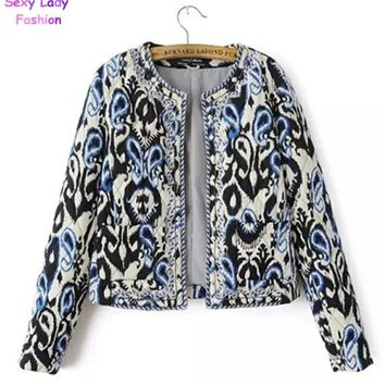 Ethnic Embroidery Beading Totem Print Paisley Quilted Jacket Fashion Women's Vintage Thin Padded Long Sleeve Coat Suits