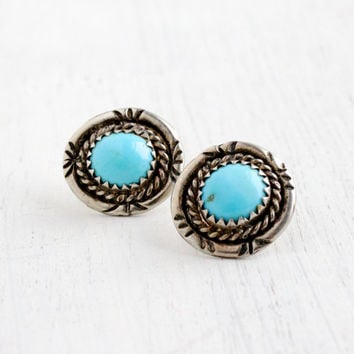 Vintage Sterling Silver Turquoise Earrings- Retro 1960s Native American Tribal Style Post Stud Jewelry