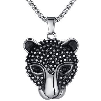 Stainless Steel Leopard Pendant Necklace