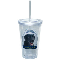 Black Lab Portrait Plastic Pint Cup With Straw