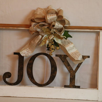 Repurposed Rustic Christmas Joy Window Decor Wall Hanging laser cut letters, large burlap, cream bow adorned with festive flower & greenery