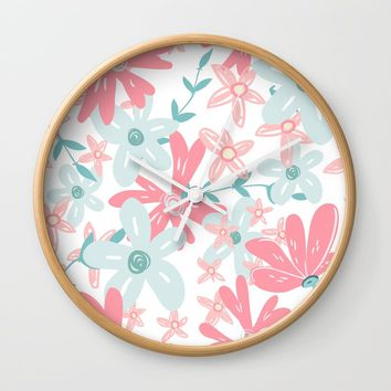 coral and mint flowers Wall Clock by sylviacookphotography