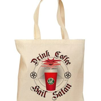 Red Cup Drink Coffee Hail Satan Grocery Tote Bag by TooLoud