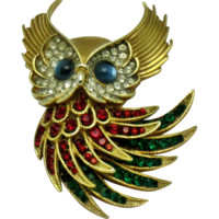 TRIFARI Alfred Philippe 'Firebirds' Vintage 1960s Owl Brooch Pin