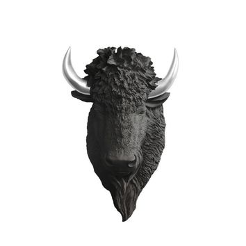 The Yellowstone | Large Buffalo Bison Head | Faux Taxidermy | Black + Silver Horns Resin