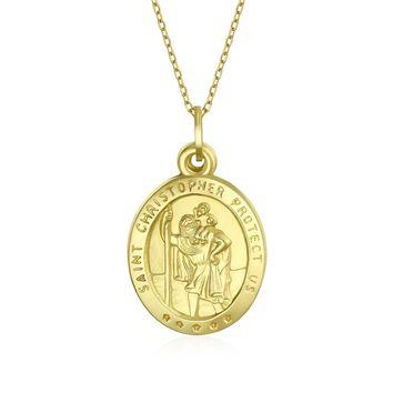 14K Yellow Gold Saint Christopher Religious Pendant Chain Necklace