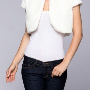 Faux Fur Short Sleeve Open Front Bolero Shrug Cardigan
