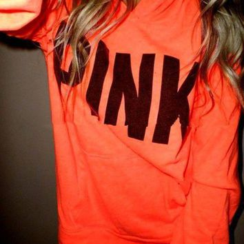 ESBON Victoria's Secret PINK printing hooded pattern and long sleeved sweater