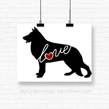 INSTANT DOWNLOAD: German Shepherd Love - an original digital silhouette for wall-art, clip art, t-shirt transfers, scrapbooking