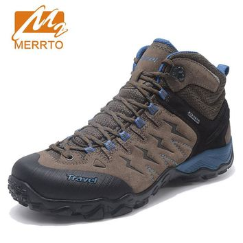 MERRTO Mens Winter Genuine Leather Shoes Outdoor Hiking Trekking Boots Sport Shoes Sneakers For Men Climbing Mountain Boots Man
