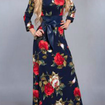 Blue Long Sleeve Floral Print With Belt Maxi Dress