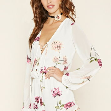 Lace-Up Floral Print Romper