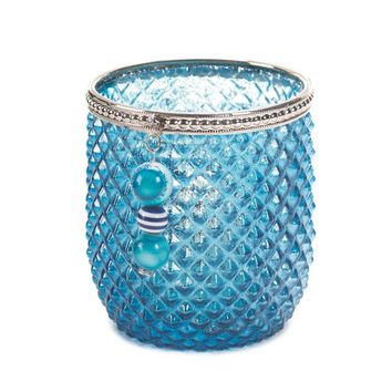 Dominion Teal Blue And Silver Glass Candle Holder
