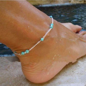 ON SALE - Turquoise Bead Anklet