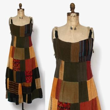Vintage 70s Patchwork Sun Dress / 1970s Hippie Woven Cotton Guatemalan Dress