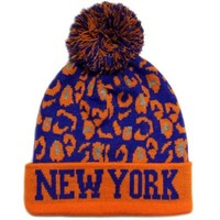 CITY Hunter Sk950 Leopard College Pom Beanie Hat - New York (8 Colors)