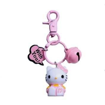 Cartoon Anime Cute Key Cover mickey stitch Bear Keychain Silicone Hello Kitty super hero porte clef cap minne key protect