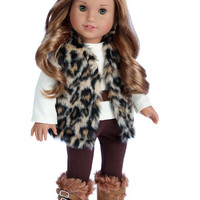 Wild Cat - Clothes for 18 inch Doll - Faux Fur Vest and Boots, Chocolate Pants and Ivory Blouse