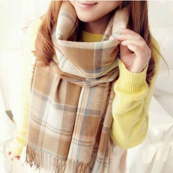 CREYU3C New Women Winter Scarfs 2015 Brand Fashion Lady Plaid Checked Scarf Tartan Stole Blanket Wrap Shawl Pashmina Women's Scarves