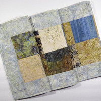 """Batik Squares Table Runner - 14"""" x 48"""" - Elegant table topper, table decoration, home decoration - Blues and Browns"""