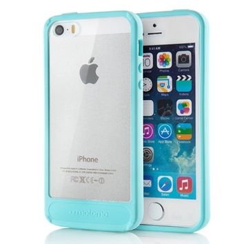 Motomo 115SPCIABC-MB Transparent Hybrid Shockproof Bumper Case for iPhone 5 / iPhone 5S Verizon, AT&T, Sprint, T-Mobile, International, and Unlocked - Retail Packaging - Mint Blue