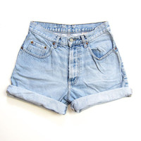 90s LUCKY Brand Worn In Faded Blue Jean Shorts Roll Up Boyfriend Denim Shorts Vintage Hipster Grunge Distressed Shorts Womens 8 Medium