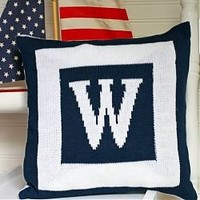 Personalized Knit Initial Throw Pillow (many colors)