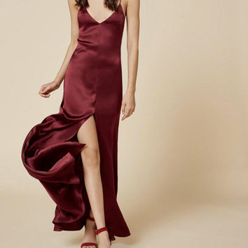 MONIK SILP DRESS - Made to Order - Burgundy silky slip dress with adjustable straps, 90s fashion Trending clothing for Women Minimalistic