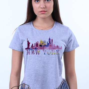 New York City Skyline I Love NYC Empire State Building Watercolor Crop Top Fringe T-shirt