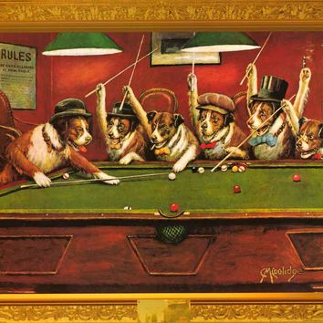Dogs Playing Pool Humor Poster 24x36