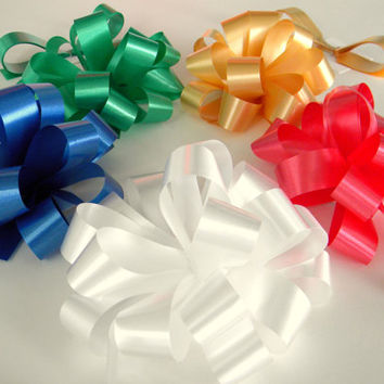 "2 Gift Bows  4""  Stick On Pre-Notched, Pick Your Color, Christmas Gift Bows"