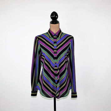 Striped Shirt Womens Long Sleeve Top Button Up Blouse Medium Diagonal Chevron Purple Green Black Colorful Vintage Clothing Womens Clothing
