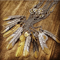Goro's Indian Big Feather Charm Pendant Necklace